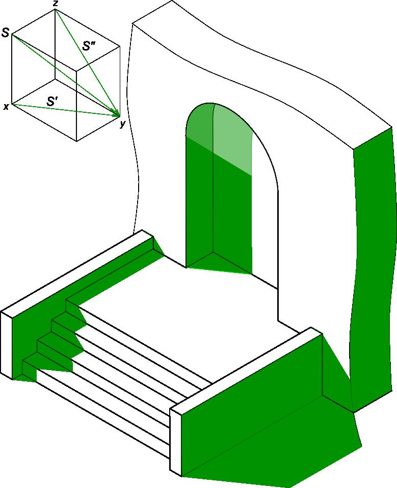 Начертательная геометрия Вырез здания часть 5 тени в